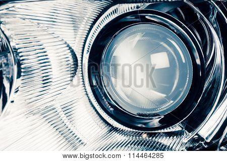xenon led headlight lamp optic lens, macro view