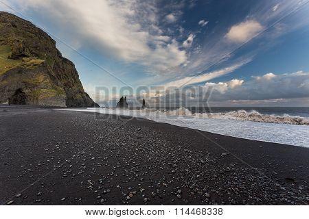 Dyrholaey, Iceland. Black Beach Sunset