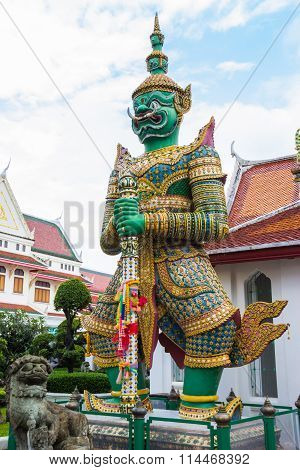 Green Giant Statue  Of The Temple Thailand
