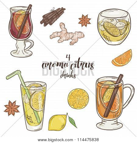 Vector Printable Illustration With Set Of Isolated Cup Of Citrus Drinks. Contains Mulled Wine, Punch