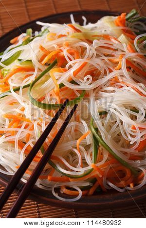 Cellophane Noodle Salad With Cucumber And Carrot Macro. Vertical