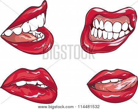 Set of six red sexy female lips