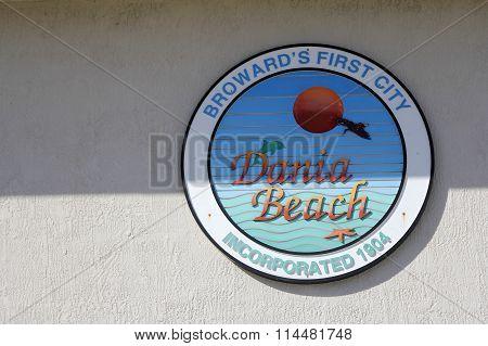 Broward S First City Dania Beach Sign