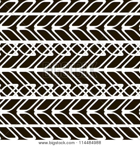 Black And White Seamless Pattern Of Overlapping Geometric Elements