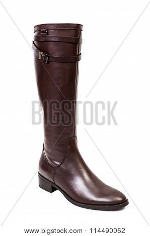 Brown Leather Boots For Women Isolated On White.