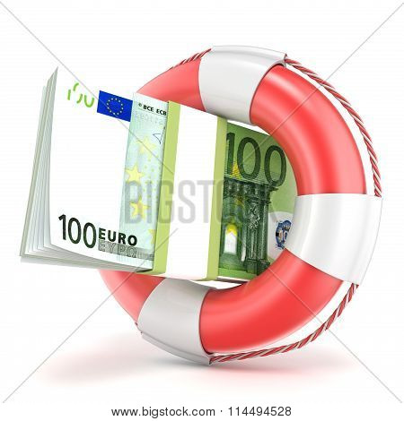 Life buoy with euros banknote. 3D
