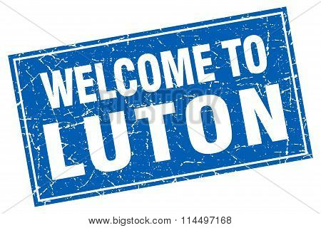 Luton Blue Square Grunge Welcome To Stamp