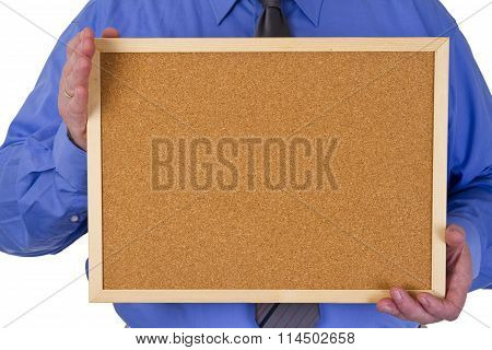 Businessman Holding Empty Pinboard