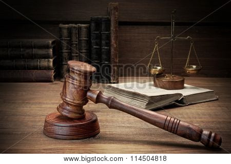 Judges Gavel, Legal Code And Scales Of Justice Closeup
