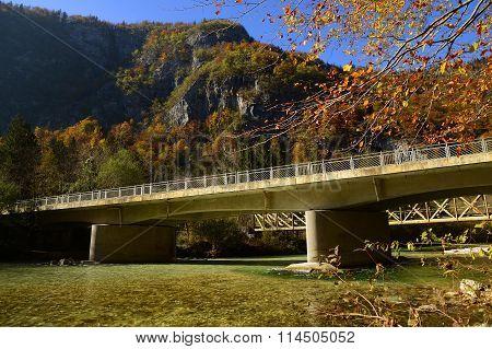 Sava Bohinjka river with bridge near Bohinjska Bistrica town in Slovenia