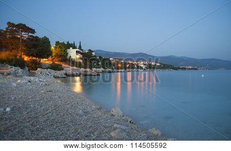 Sunset on Novi Vinodolski beach, Croatia