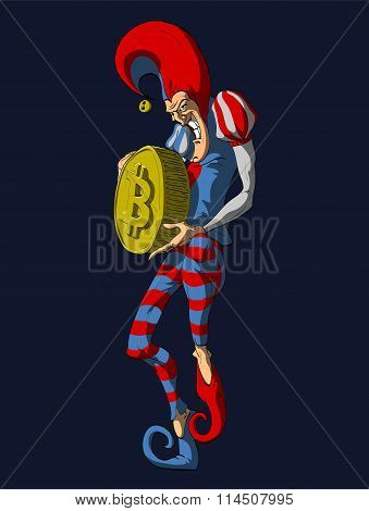 Colorful vector illustration of a Jester or a Joker, holding a Bitcoin. poster