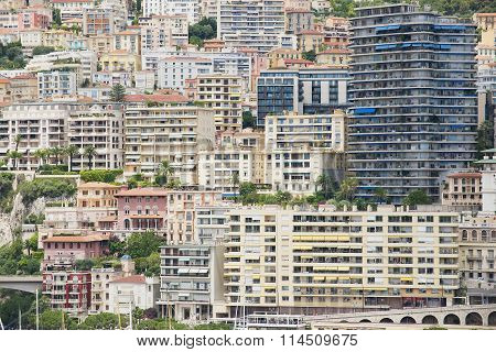 View to the buildings of Monte Carlo from the viewpoint in Monaco Monaco.