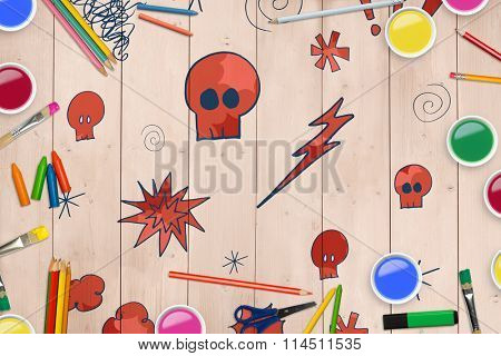Frame of art supply against wooden planks