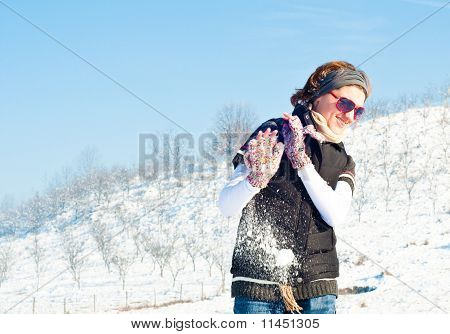 Young Woman In A Snow Fight