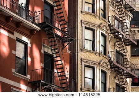 Old apartment building with fire escapes, Manhattan, New York City poster