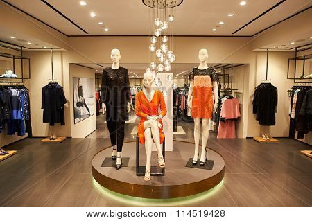 HONG KONG - DECEMBER 25, 2015: Escada store in Hong Kong. Escada is an international luxury fashion group in women's designer clothing. The company has a presence in about 60 different countries