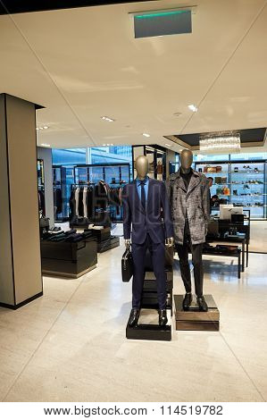 HONG KONG - DECEMBER 25, 2015: Hugo Boss store at ifc shopping mall in Hong Kong. Hong Kong shopping malls are some of the biggest and most impressive in the world
