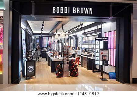 HONG KONG - DECEMBER 25, 2015: Bobbi Brown store at ifc shopping mall in Hong Kong. Hong Kong shopping malls are some of the biggest and most impressive in the world