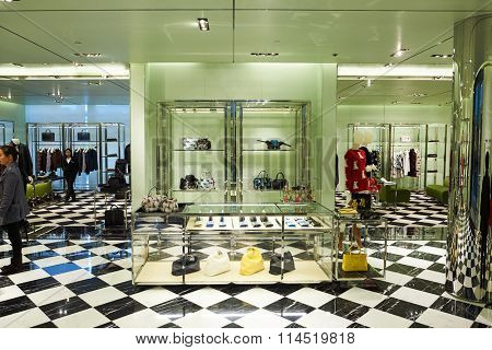 HONG KONG - DECEMBER 25, 2015: Prada store at ifc shopping mall in Hong Kong. Hong Kong shopping malls are some of the biggest and most impressive in the world