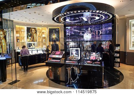 HONG KONG - DECEMBER 25, 2015: Dior cosmetics store at ifc shopping mall in Hong Kong. Hong Kong shopping malls are some of the biggest and most impressive in the world