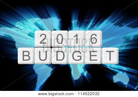 world glow background and keyboard button with word 2016 budget. poster
