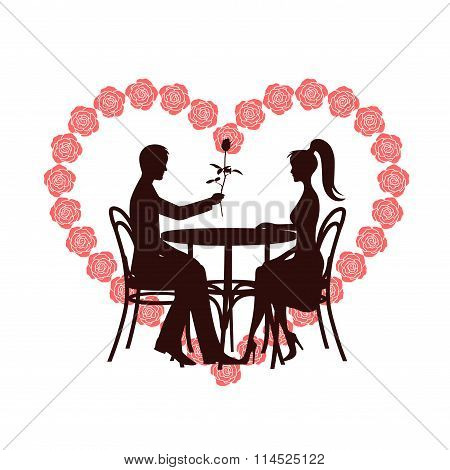 St. Valentine's Day Symbol A Heart With Roses A Romantic Meeting