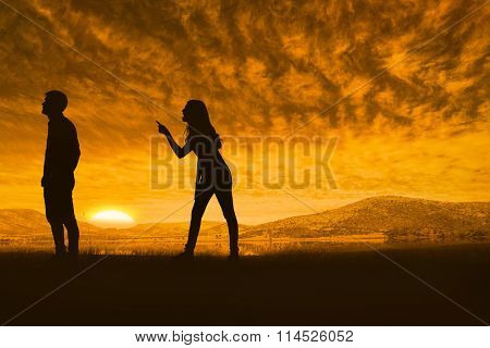 Angry brunette shouting at boyfriend against beautiful african scene