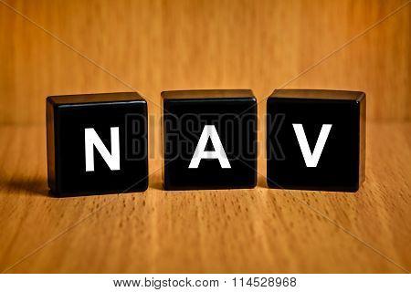 Nav Or Net Asset Value Word On Black Block