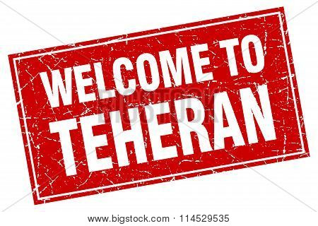 Teheran red square grunge welcome to stamp