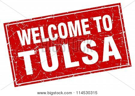 Tulsa red square grunge welcome to stamp