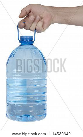 The Hand Holds Aloft The Five-liter Plastic Bottle With Water