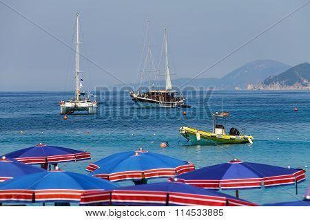 Anchored yacht in Tyrrhenian Sea, Sant Andreas On Elba Island, Italy