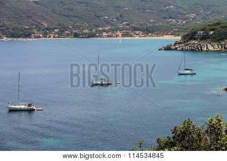 Anchored Yachts In Tyrrhenian Sea On Elba Island, Italy