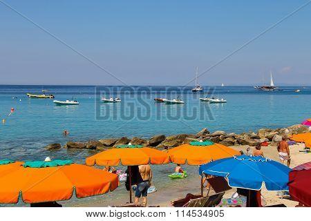 People On The Coast Of Tyrrhenian Sea, Sant Andreas On Elba Island, Italy