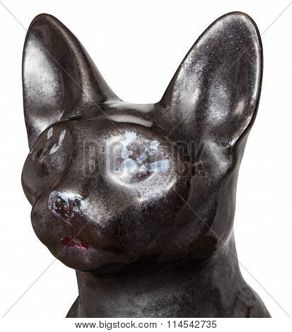 Head Of Cat Statue From Ancient Egypt Isolated