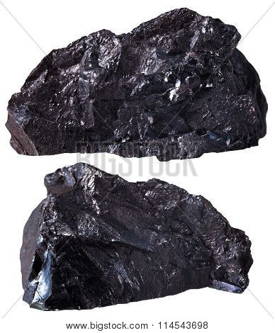 Two Pieces Of Black Anthracite (coal) Mineral