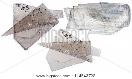 Set Of Muscovite Mica Pieces Isolated On White