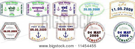 Asian, Australian and Indian Passport Stamps
