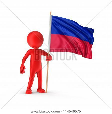 Man and Haitian flag. Image with clipping path