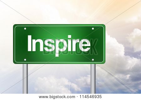 Inspire Green Road Sign, Business Concept