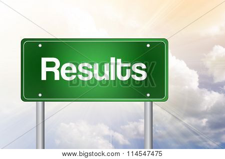 Results Green Road Sign, blue sky background concept poster