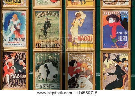 PARIS , FRANCE -SEPTEMBER 10,  2014: the famous poster of Le Chat Noir the black cat and other pictures in Montmartre Paris on Le Chat Noir was a 19th century cabaret club in Montmartre.
