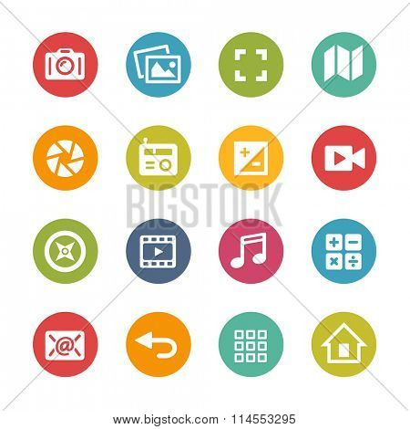 Web and Mobile Icons 5 // Fresh Colors Series ++ Icons and buttons in different layers, easy to change colors ++