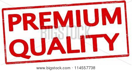 Rubber stamp with text premium quality inside vector illustration