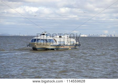 Hydrofoil, following from St. Petersburg to Peterhof, in the Gulf of Finland