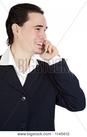 Attractive Young Person Businessman Speaking On The Telephone