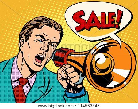 Agitator with megaphone announces sale