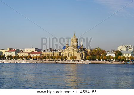 St.Petersburg, Russia - October 7, 2014: views of Lieutenant Schmidt embankment and church of Dormit