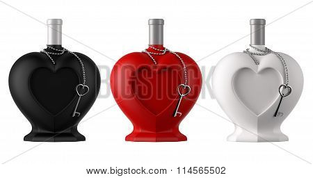 Decorative heart shaped bottles with metal thine chain and heart shaped key for saint valentine day